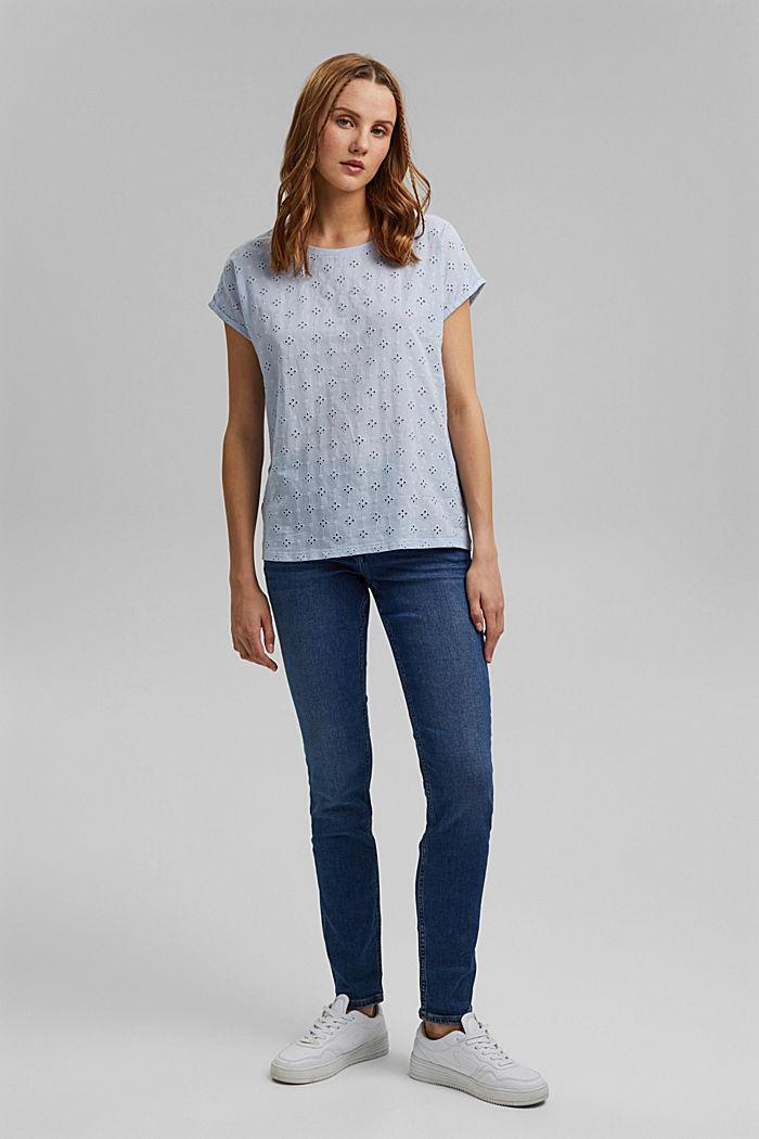 T-Shirt im Material-Mix mit Lochstickerei, LIGHT BLUE LAVENDER, detail image number 1