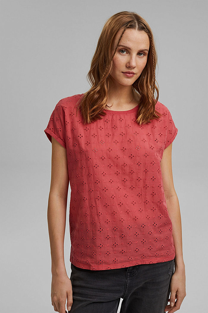 T-shirt in a material mix with broderie anglaise, BLUSH, detail image number 0