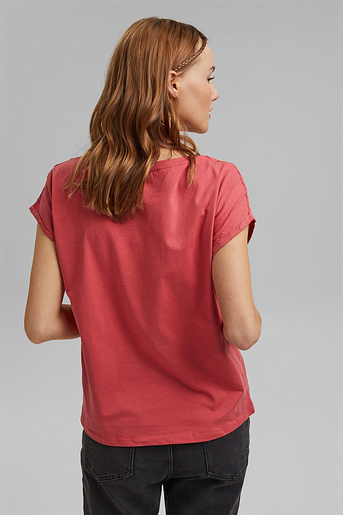T-shirt in a material mix with broderie anglaise, BLUSH, detail image number 3