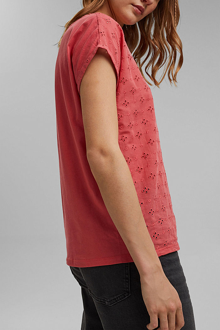 T-shirt in a material mix with broderie anglaise, BLUSH, detail image number 2