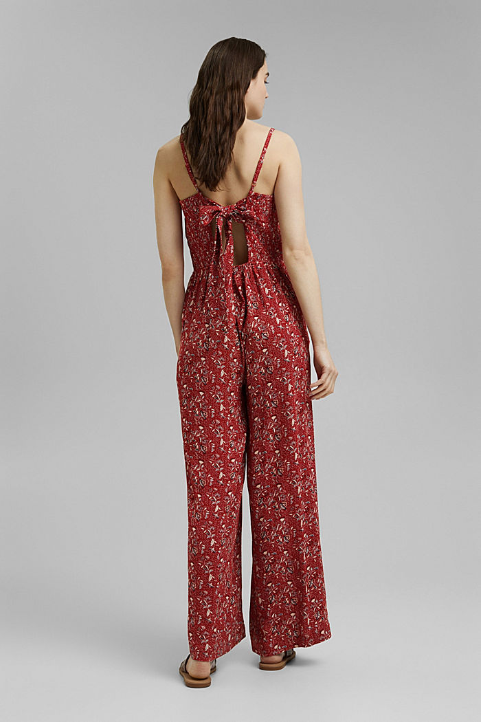 Jumpsuit with a bow, LENZING™ ECOVERO™, TERRACOTTA, detail image number 3
