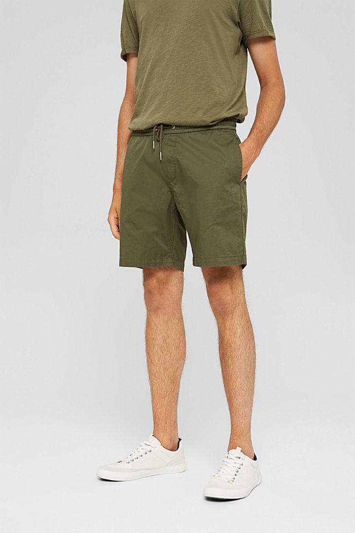 Shorts with a drawstring tie, 100% organic cotton, DARK KHAKI, detail image number 0
