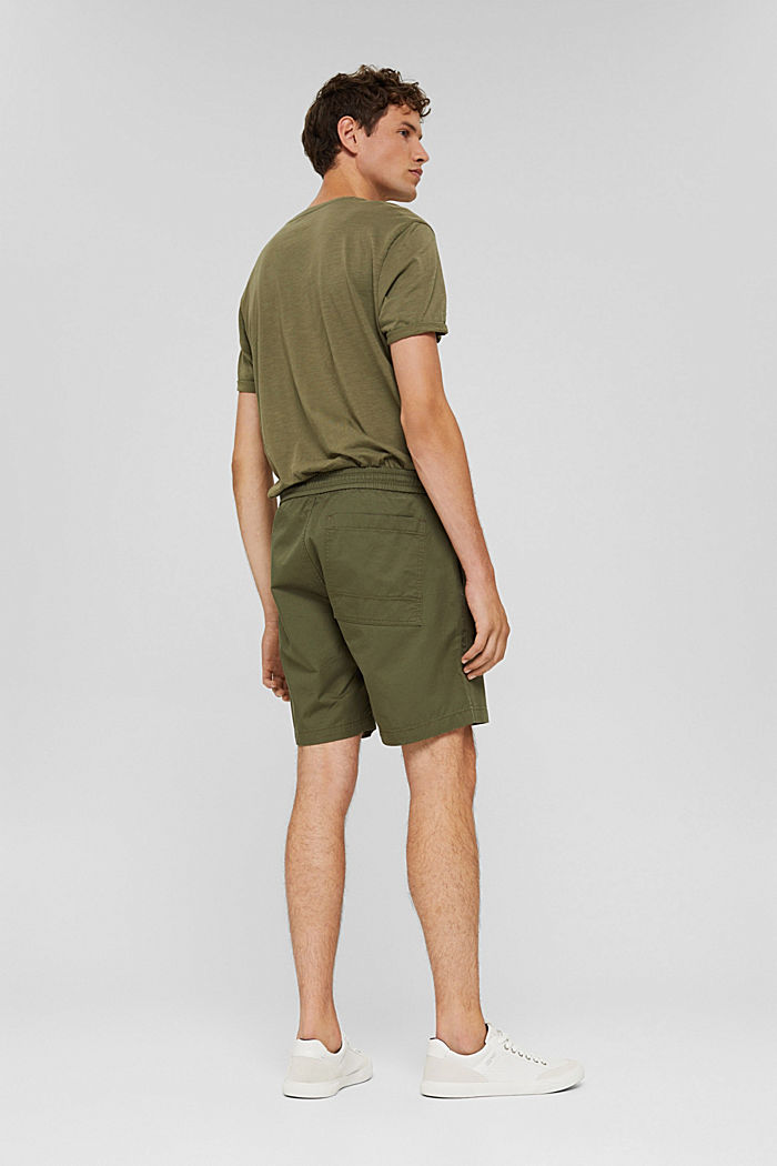 Shorts with a drawstring tie, 100% organic cotton, DARK KHAKI, detail image number 3