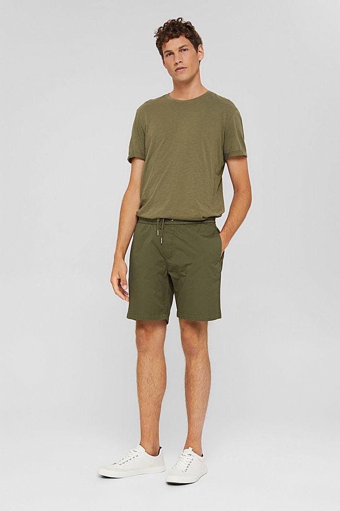 Shorts with a drawstring tie, 100% organic cotton, DARK KHAKI, detail image number 6