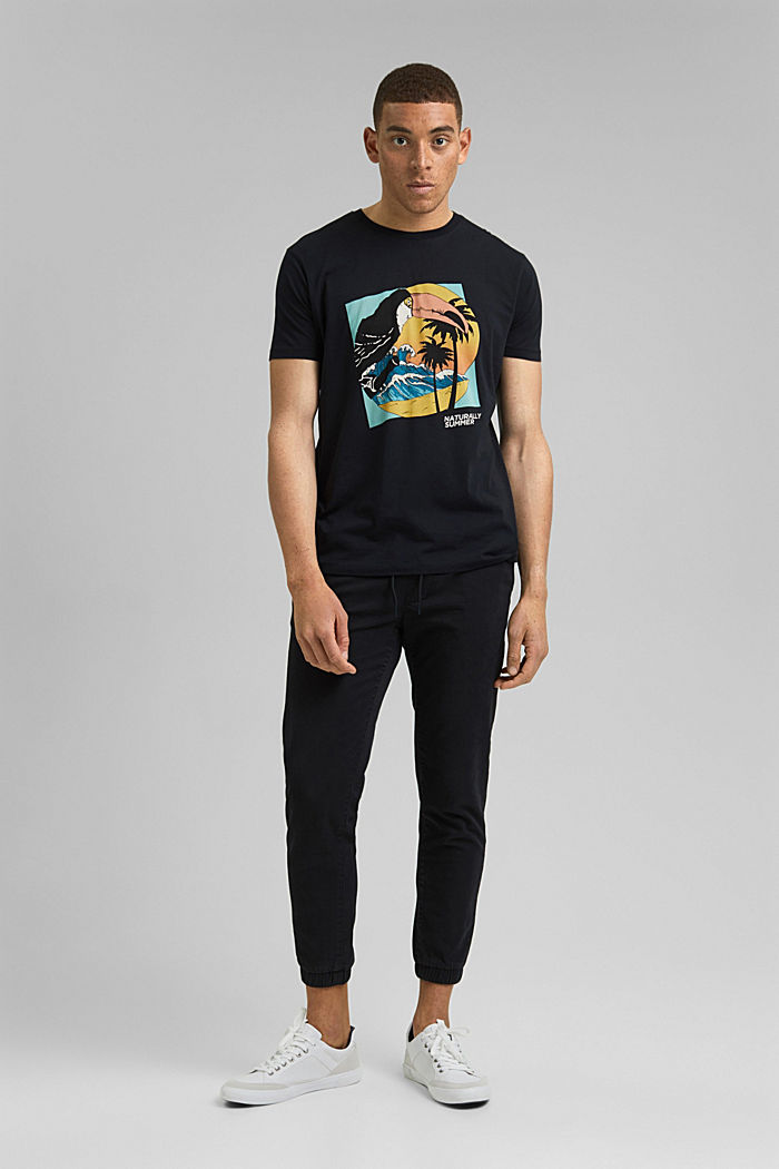 Jersey T-shirt with a print, organic cotton, BLACK, detail image number 2