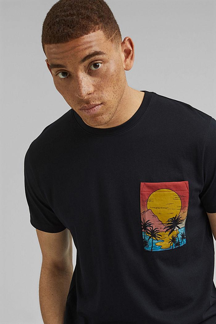 Jersey T-shirt met print, biologisch katoen, BLACK, detail image number 5