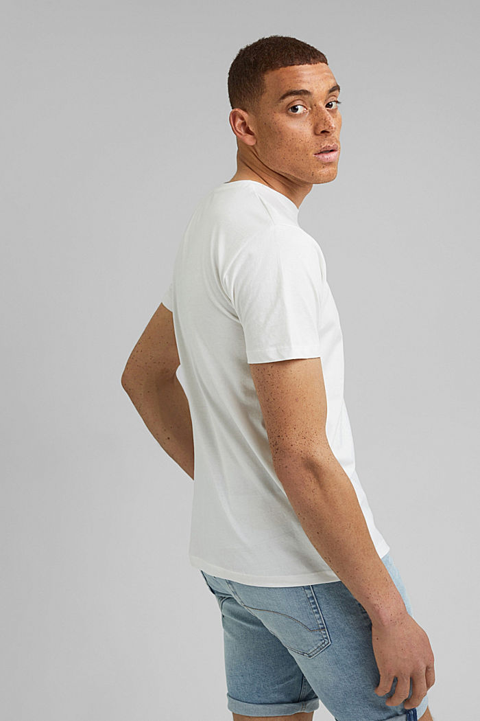 Jersey T-shirt with a print, organic cotton, OFF WHITE, detail image number 3
