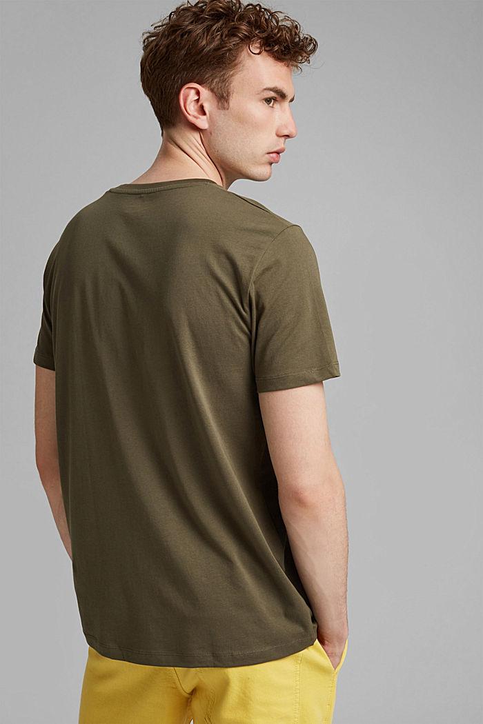 T-shirt en jersey orné d´un imprimé, coton biologique, DARK KHAKI, detail image number 3