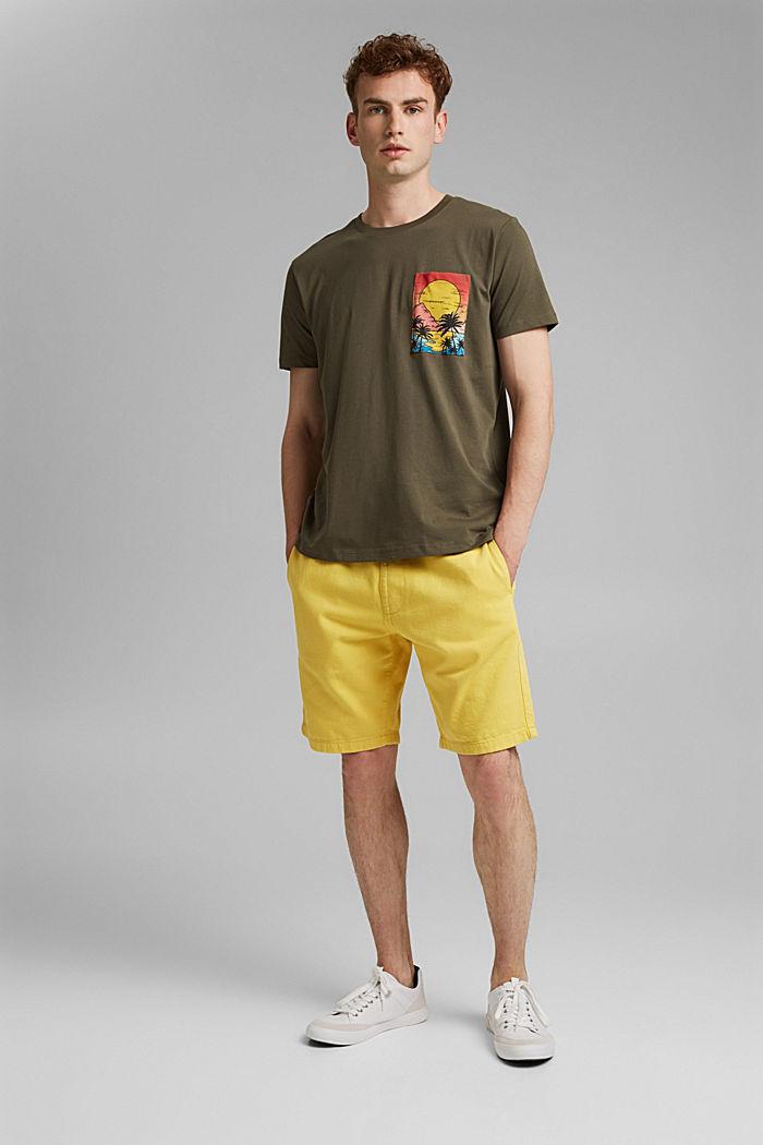 T-shirt en jersey orné d´un imprimé, coton biologique, DARK KHAKI, detail image number 2