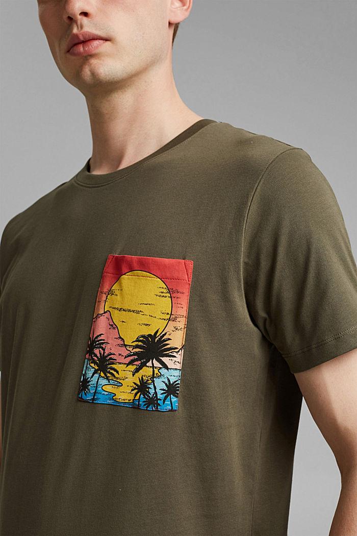 T-shirt en jersey orné d´un imprimé, coton biologique, DARK KHAKI, detail image number 1