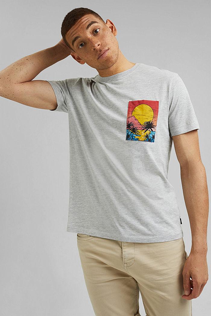 Painettu jersey-T-paita luomupuuvillaa, LIGHT GREY, detail image number 0