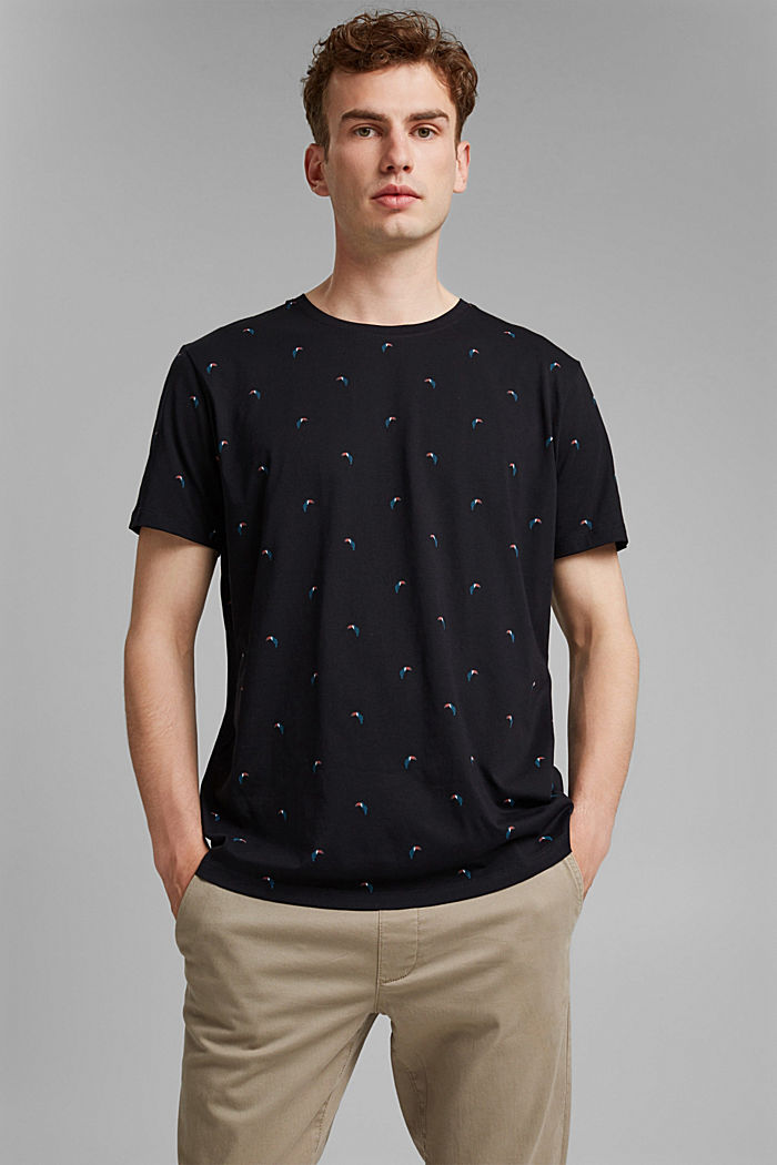 Jersey T-shirt with a toucan print, 100% organic cotton, BLACK, detail image number 0