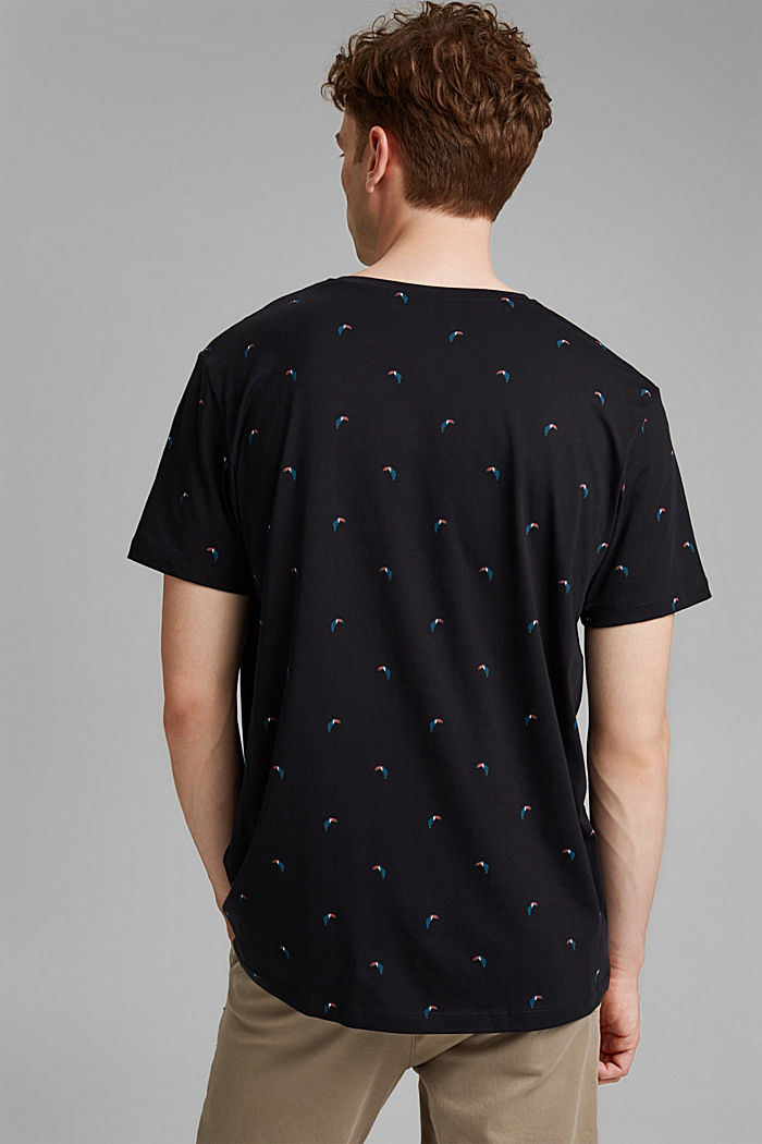 Jersey T-shirt with a toucan print, 100% organic cotton, BLACK, detail image number 3