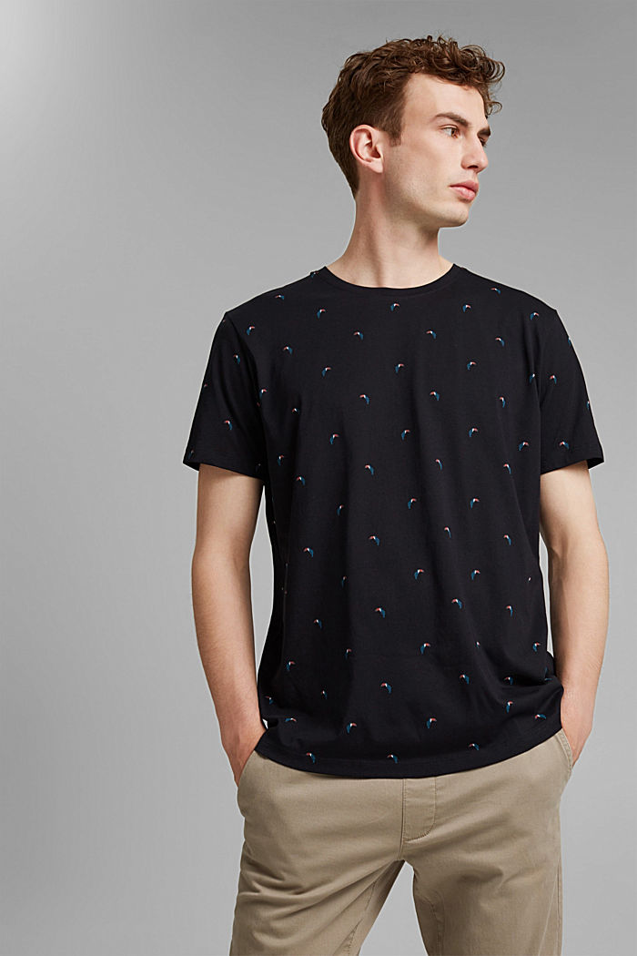 Jersey T-shirt with a toucan print, 100% organic cotton, BLACK, detail image number 4