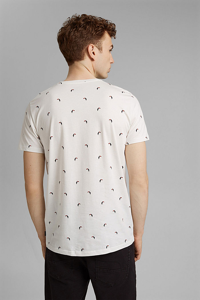Jersey T-shirt with a toucan print, 100% organic cotton, OFF WHITE, detail image number 3