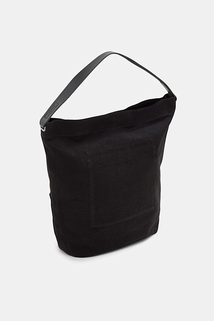 Hobo bag made of canvas and leather, BLACK, detail image number 5