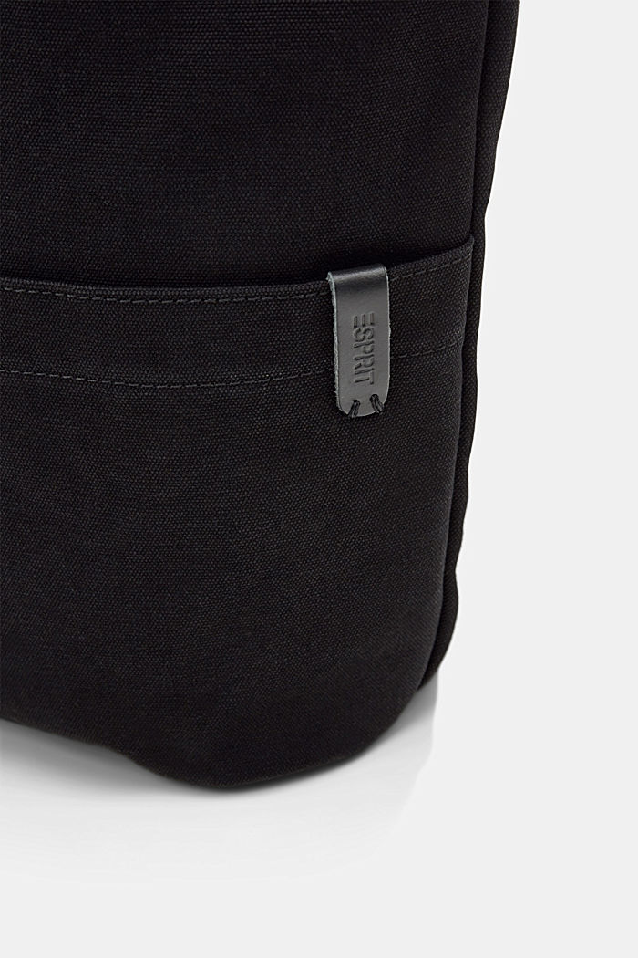Hobo bag made of canvas and leather, BLACK, detail image number 3