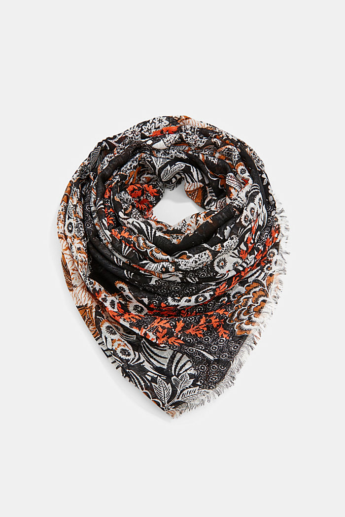 Schal mit Dschungel-Print, LENZING™ ECOVERO™, BLACK, detail image number 0