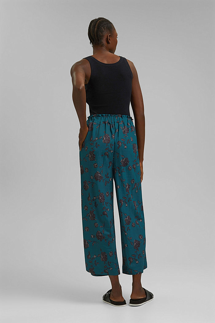 Floral culottes containing LENZING™ ECOVERO™, TEAL GREEN, detail image number 3