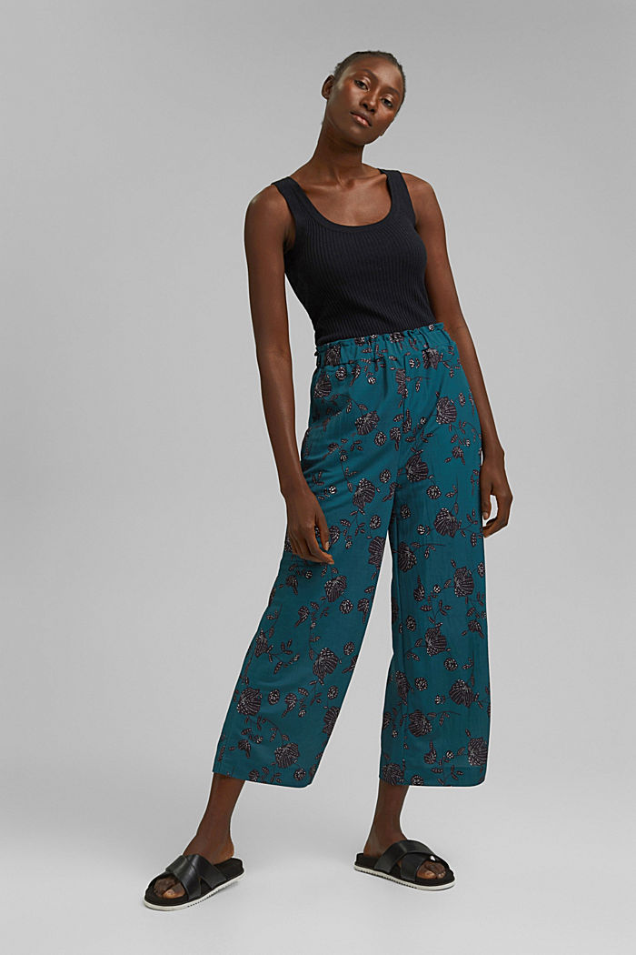 Floral culottes containing LENZING™ ECOVERO™, TEAL GREEN, detail image number 1