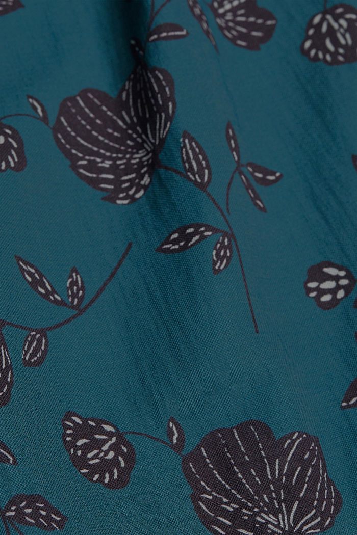 Floral culottes containing LENZING™ ECOVERO™, TEAL GREEN, detail image number 4