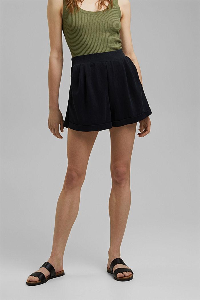 Short en jersey à teneur en fibres LENZING™ ECOVERO™, BLACK, detail image number 6