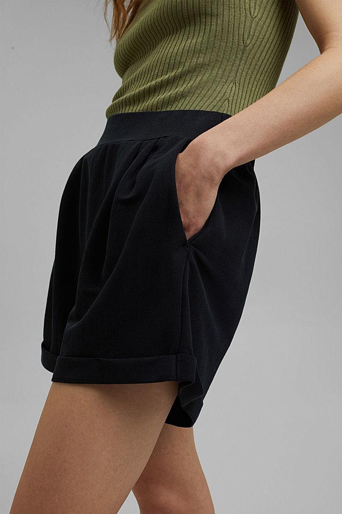 Short en jersey à teneur en fibres LENZING™ ECOVERO™, BLACK, detail image number 2