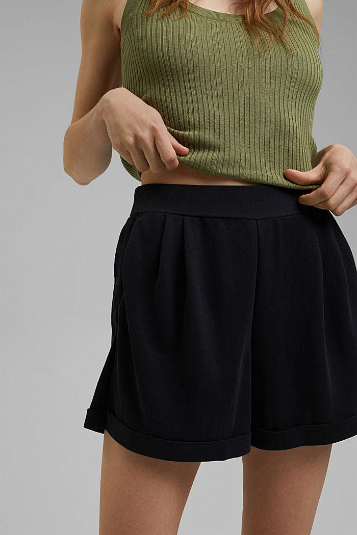 Short en jersey à teneur en fibres LENZING™ ECOVERO™, BLACK, detail image number 5