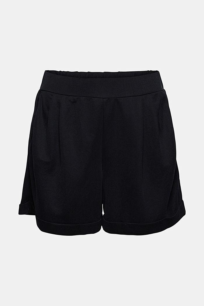 Short en jersey à teneur en fibres LENZING™ ECOVERO™, BLACK, detail image number 7