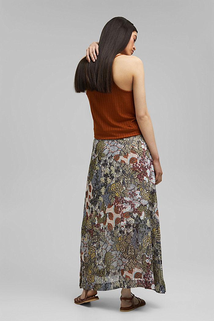 En matière recyclée: jupe maxi longueur en mousseline imprimée, TURQUOISE, detail image number 3