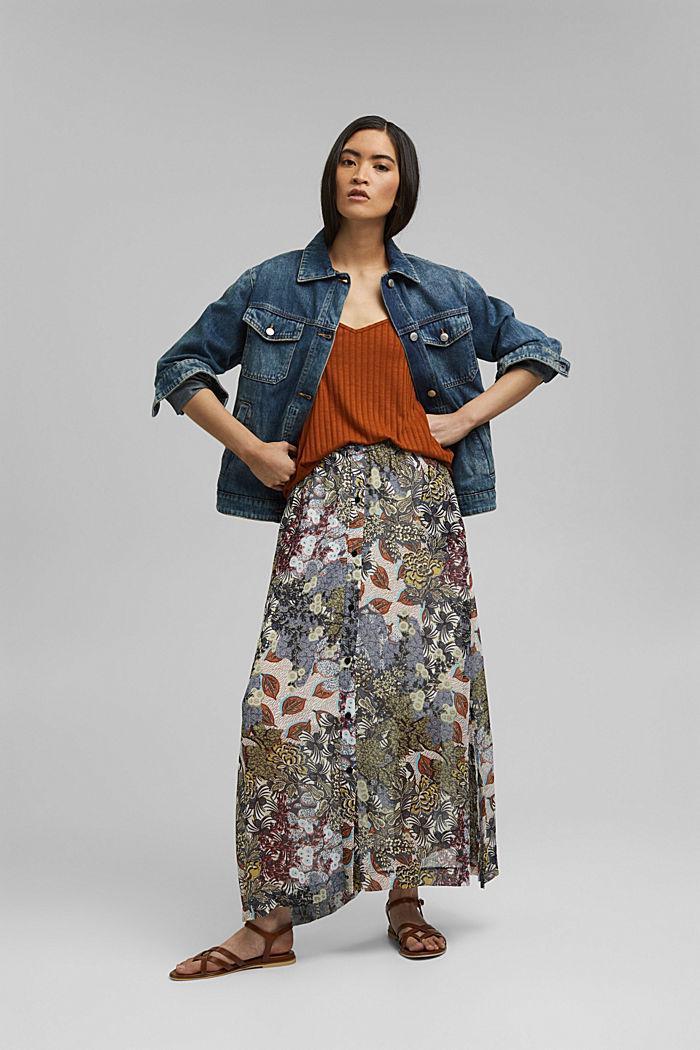 En matière recyclée: jupe maxi longueur en mousseline imprimée, TURQUOISE, detail image number 1