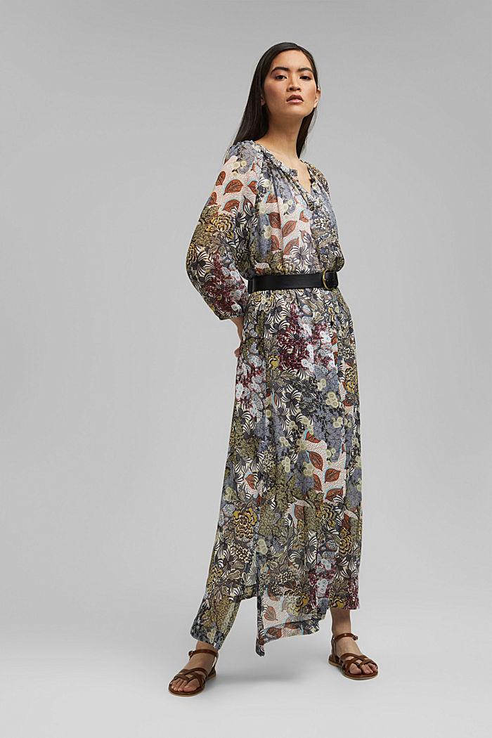 En matière recyclée: jupe maxi longueur en mousseline imprimée, TURQUOISE, detail image number 5