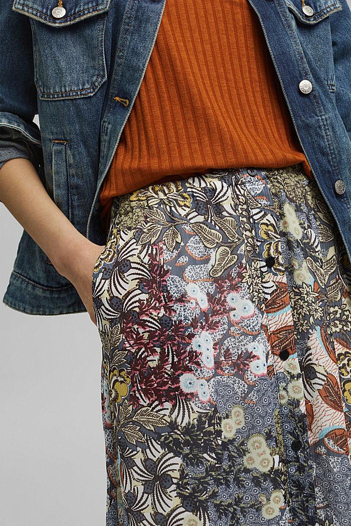 En matière recyclée: jupe maxi longueur en mousseline imprimée, TURQUOISE, detail image number 2