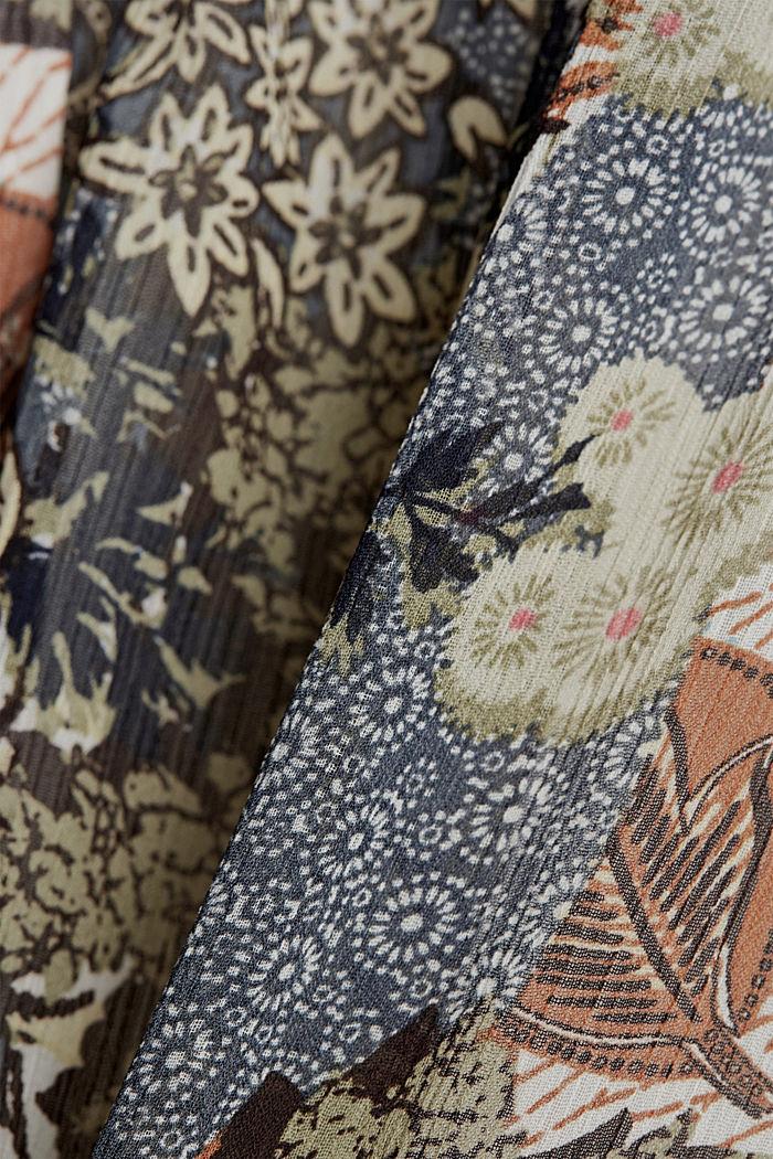 En matière recyclée: jupe maxi longueur en mousseline imprimée, TURQUOISE, detail image number 4