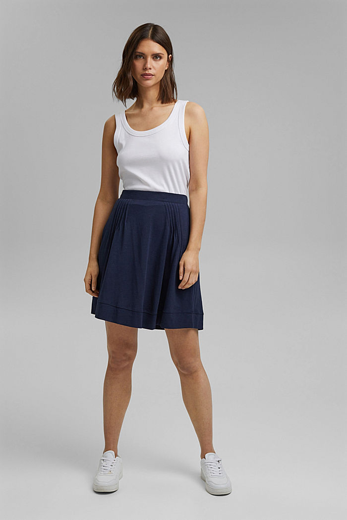 A-line jersey skirt made of organic cotton/TENCEL™, NAVY, detail image number 1