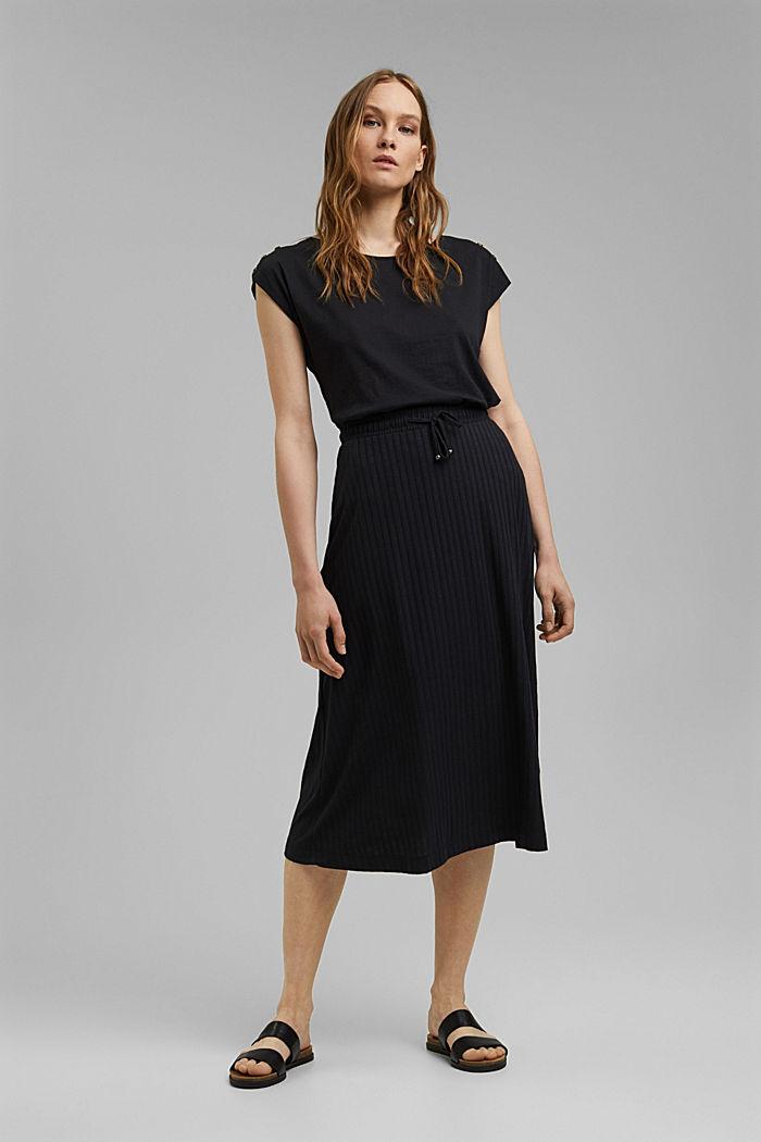 En matière recyclée: la jupe longueur midi en jersey côtelé, BLACK, detail image number 0