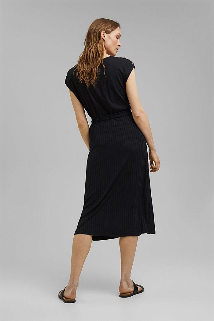 En matière recyclée: la jupe longueur midi en jersey côtelé, BLACK, detail image number 3