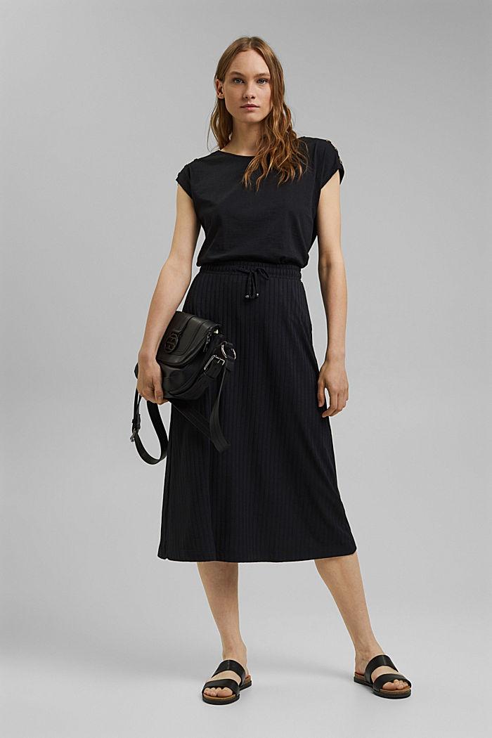 En matière recyclée: la jupe longueur midi en jersey côtelé, BLACK, detail image number 1
