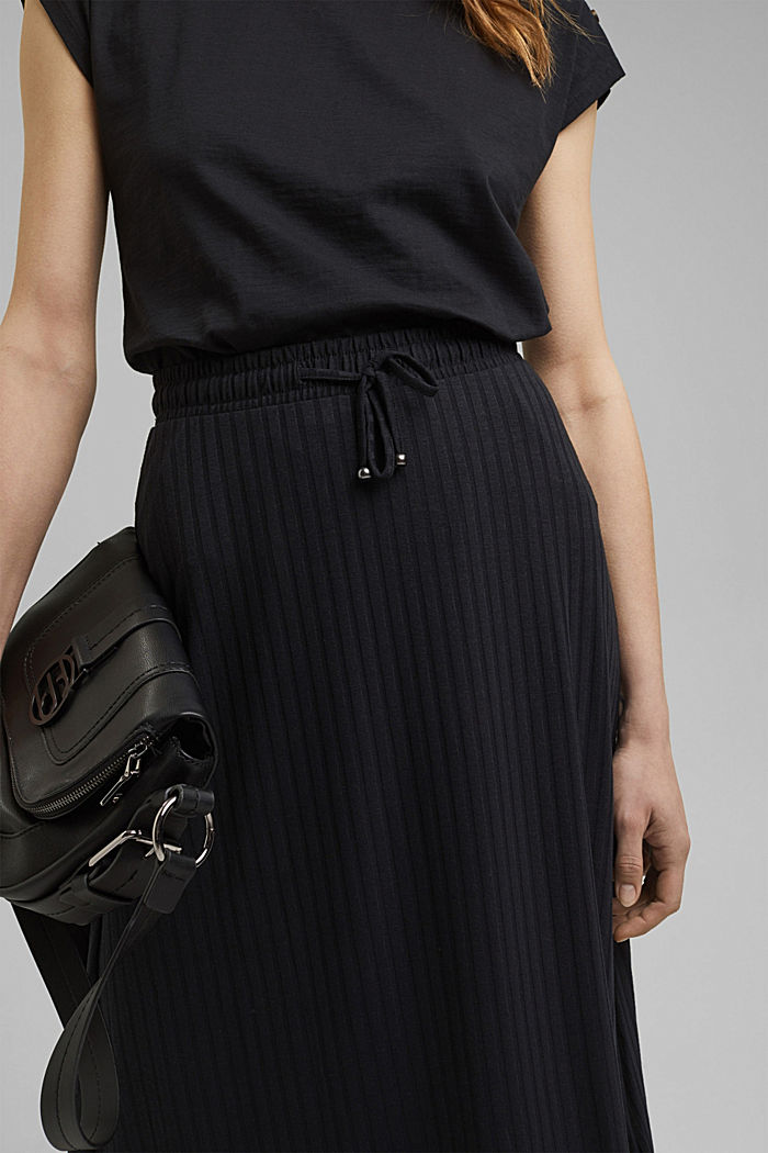 En matière recyclée: la jupe longueur midi en jersey côtelé, BLACK, detail image number 2