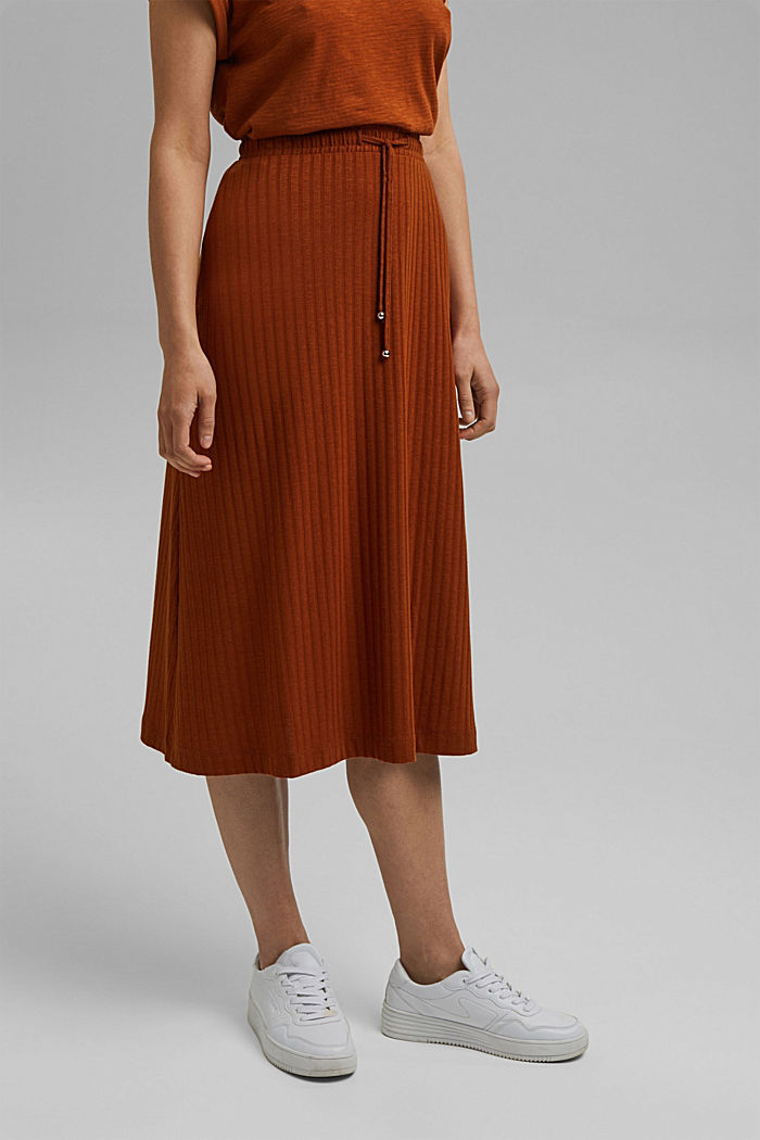 Recycled: midi jersey skirt with ribbed texture, CARAMEL, detail image number 0