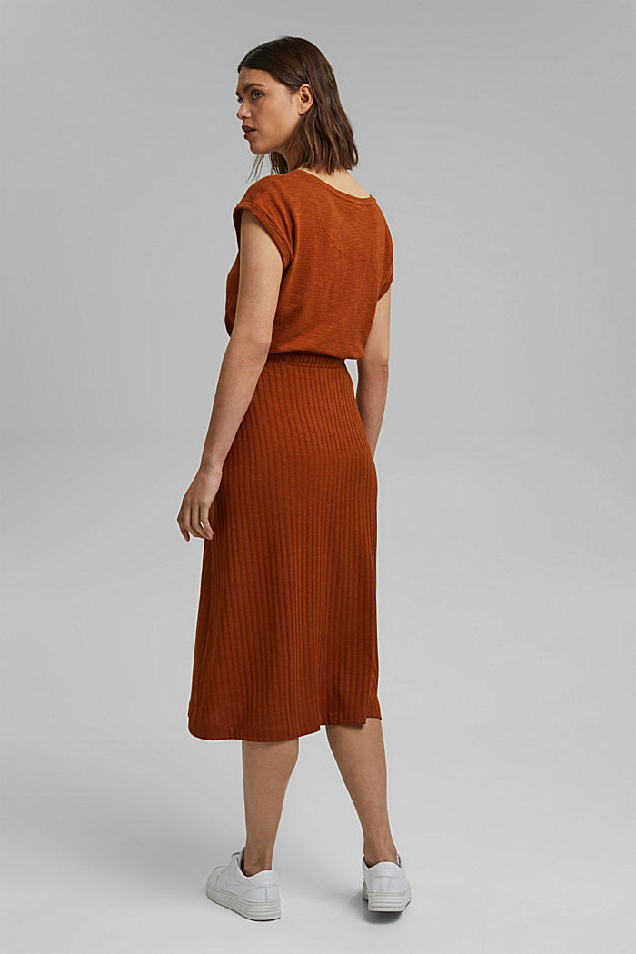 Recycled: midi jersey skirt with ribbed texture, CARAMEL, detail image number 3