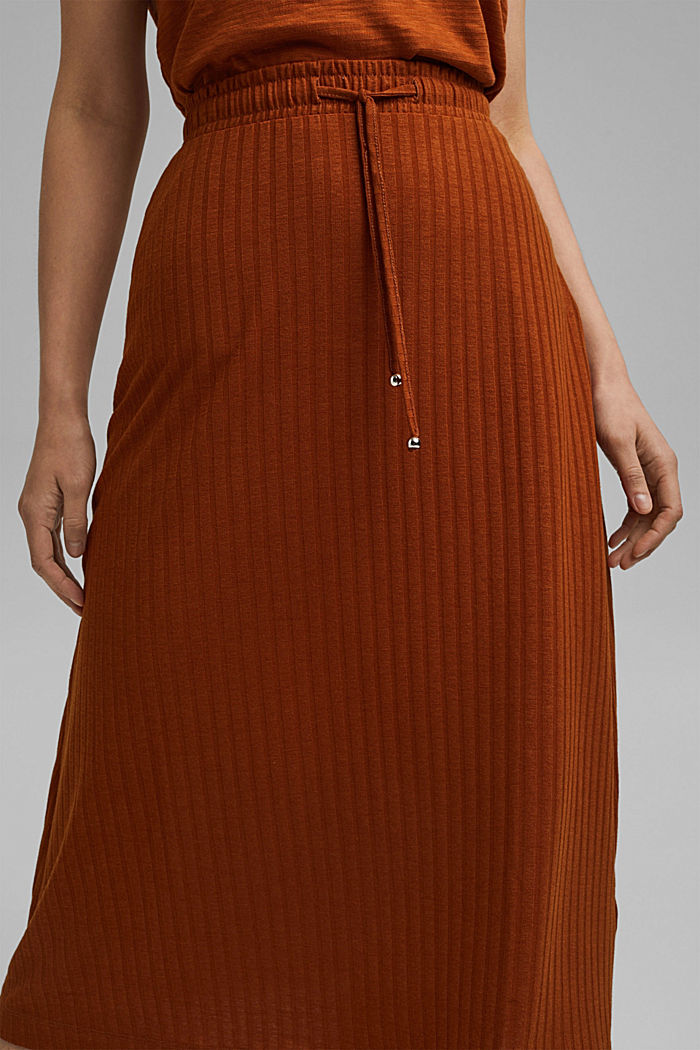 Recycled: midi jersey skirt with ribbed texture, CARAMEL, detail image number 2