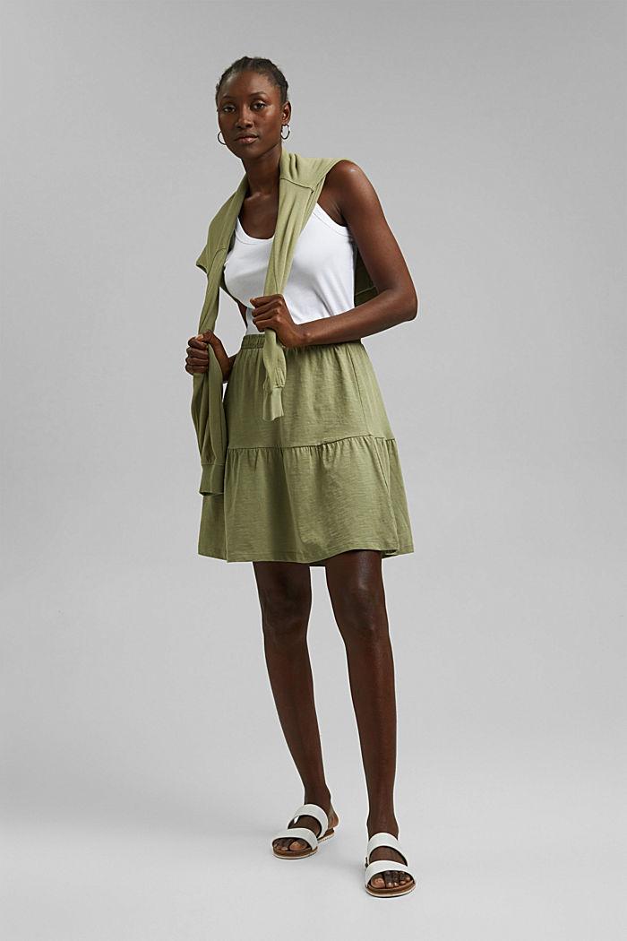Minifalda de jersey, algodón ecológico, LIGHT KHAKI, detail image number 1