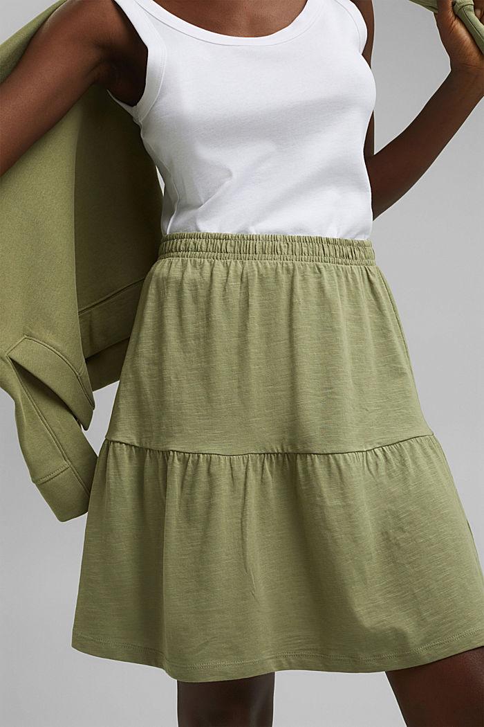 Minifalda de jersey, algodón ecológico, LIGHT KHAKI, detail image number 2