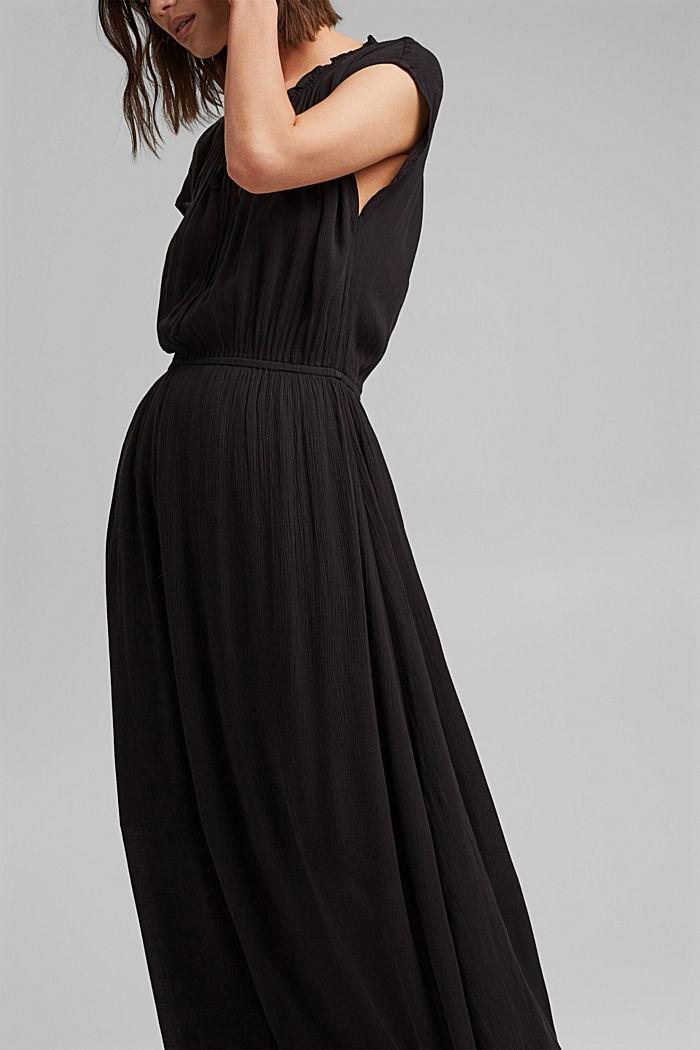 Crinkle maxi dress made of LENZING™ ECOVERO™, BLACK, detail image number 5