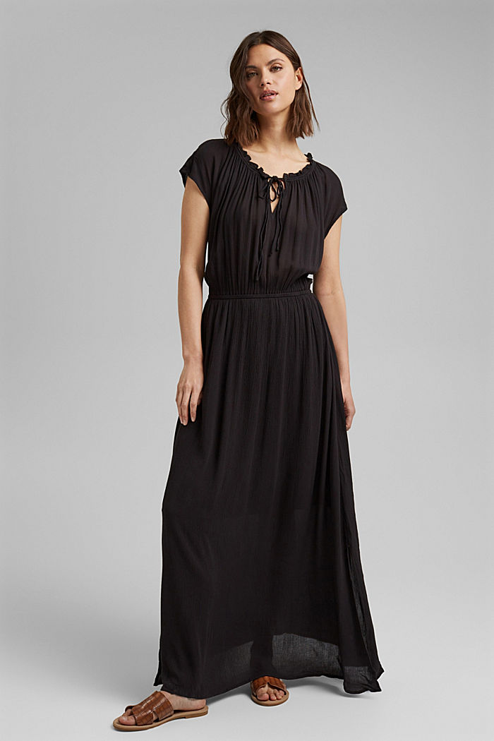 Crinkle maxi dress made of LENZING™ ECOVERO™, BLACK, detail image number 1