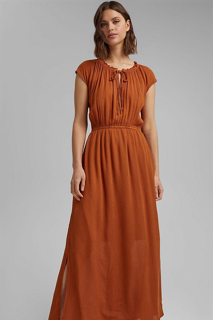 Maxi-jurk van LENZING™ ECOVERO™ met crinkle-look, CARAMEL, detail image number 0