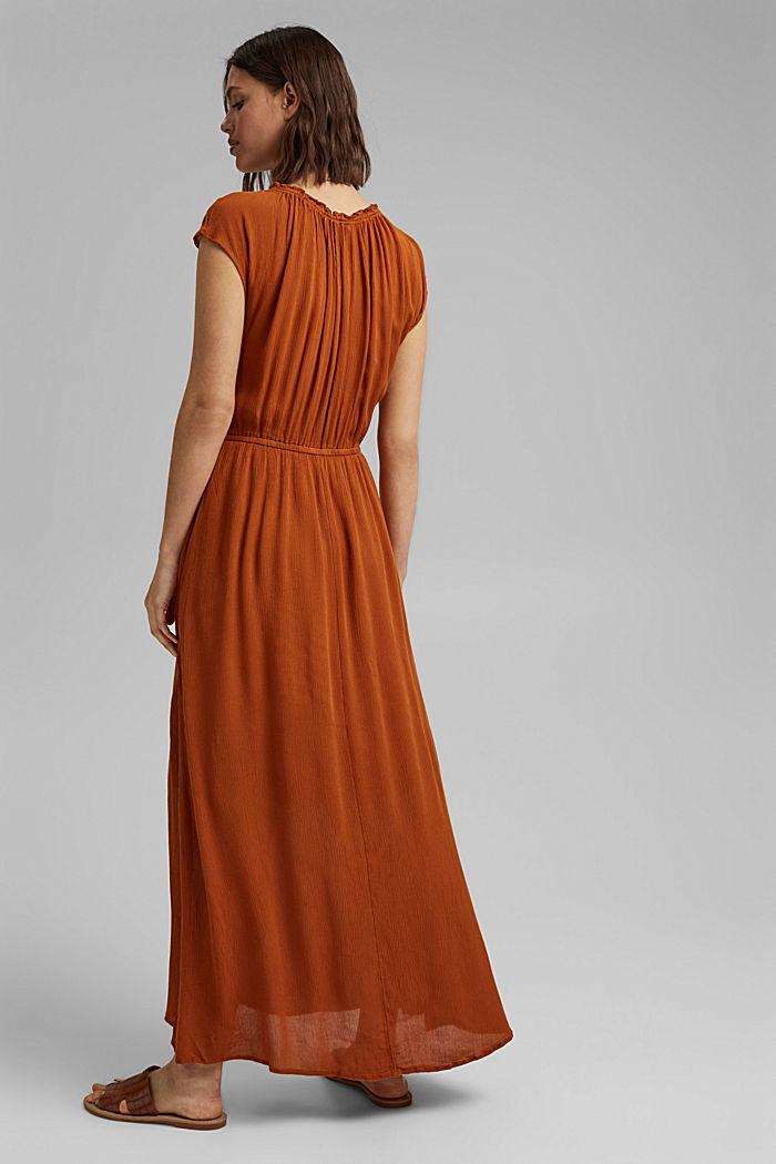 Maxi-jurk van LENZING™ ECOVERO™ met crinkle-look, CARAMEL, detail image number 2