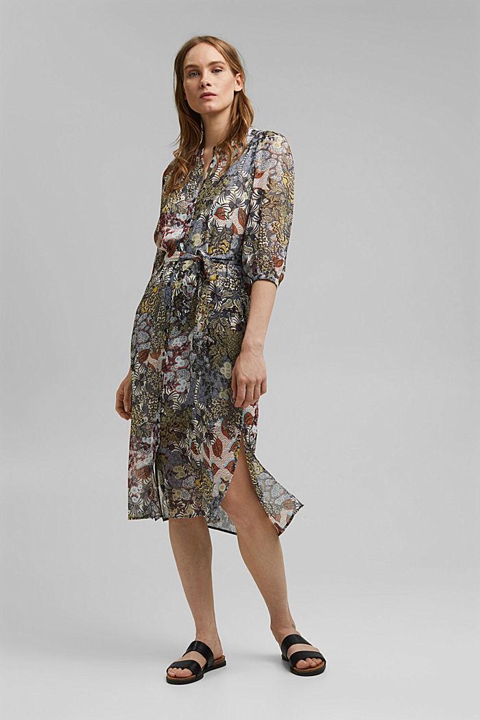 En matière recyclée: la robe chemisier en mousseline ornée d´un imprimé, TURQUOISE, detail image number 0