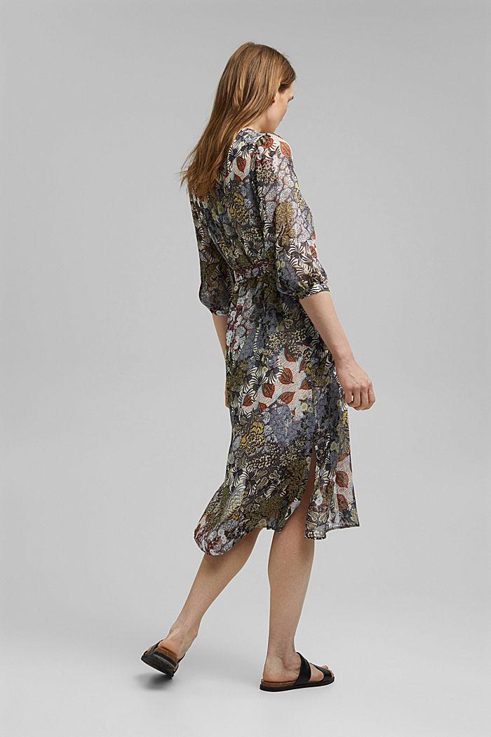En matière recyclée: la robe chemisier en mousseline ornée d´un imprimé, TURQUOISE, detail image number 2